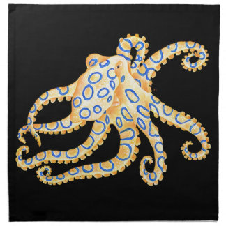 Blue Ring Octopus on Black Napkin