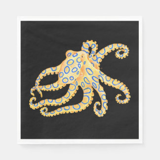 Blue Ring Octopus on Black Paper Napkin