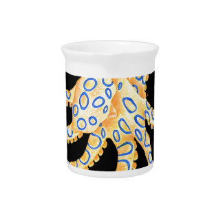 Blue Ring Octopus on Black Pitcher