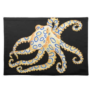 Blue Ring Octopus on Black Placemat
