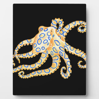 Blue Ring Octopus on Black Plaque
