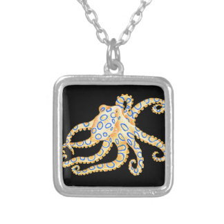 Blue Ring Octopus on Black Silver Plated Necklace