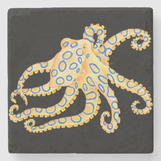 Blue Ring Octopus on Black Stone Coaster