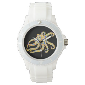Blue Ring Octopus on Black Watch