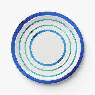 Blue Rings 7 Inch Paper Plate