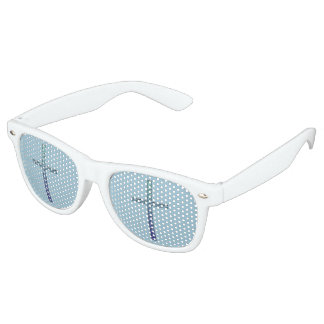 Blue Rippled Cross-Religious Party Sunglasses
