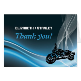 Blue road biker wedding Thank You note card