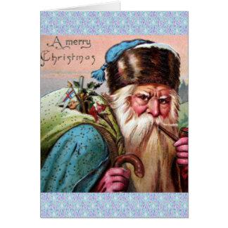 Blue Robe Santa Claus Smoking Pipe - Christmas Card