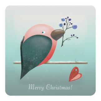 "Blue Robin Christmas Greeting Card 5.25"" Square Invitation Card"