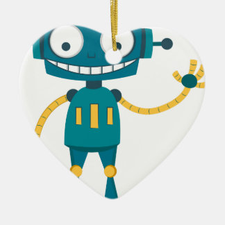 Blue Robot Ceramic Ornament