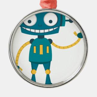 Blue Robot Metal Ornament