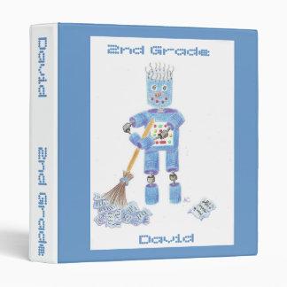 Blue robot personalized school binder