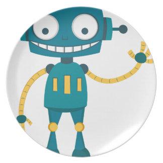 Blue Robot Plate