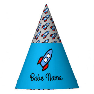 Blue rocket flying. party hat