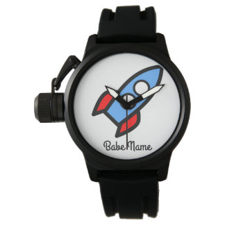 Blue rocket flying. wristwatches
