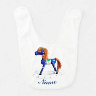 Blue Rocking Hobby Horse with Name Bib