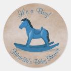 Blue Rocking Horse Baby Boy Classic Round Sticker