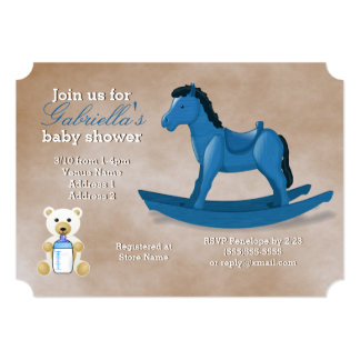 Blue Rocking Horse Baby Shower Card