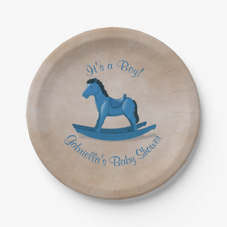 Blue Rocking Horse Baby Shower Paper Plate