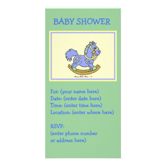 Blue Rocking Horse Baby Shower Personalized Photo Card
