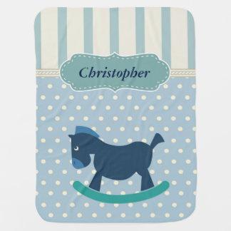 Blue Rocking Horse Polka Dots Stripes Baby Blanket