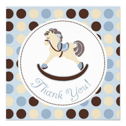 Blue Rocking Horse Thank You Custom Invitation