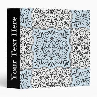 Blue Rococo Pattern Flourish 3 Ring Binder
