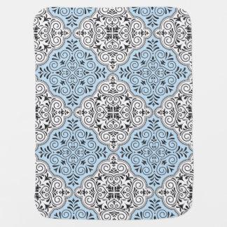 Blue Rococo Pattern Flourish Baby Blanket