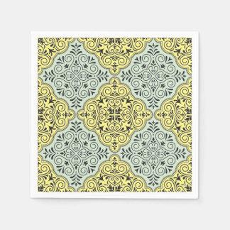 Blue Rococo Pattern Flourish Disposable Napkins