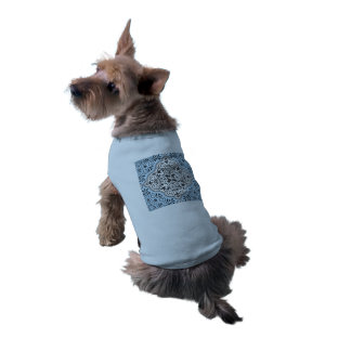 Blue Rococo Pattern Flourish Dog Tee Shirt