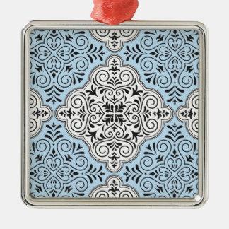 Blue Rococo Pattern Flourish Metal Ornament