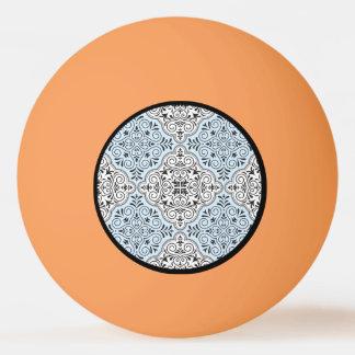 Blue Rococo Pattern Flourish Ping Pong Ball