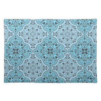 Blue Rococo Pattern Flourish Placemat