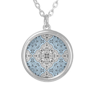 Blue Rococo Pattern Flourish Silver Plated Necklace