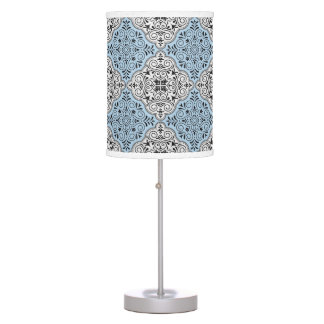 Blue Rococo Pattern Flourish Table Lamp