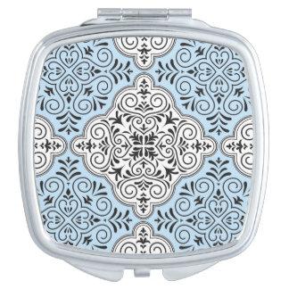 Blue Rococo Pattern Flourish Vanity Mirrors