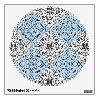 Blue Rococo Pattern Flourish Wall Sticker