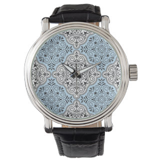 Blue Rococo Pattern Flourish Watch