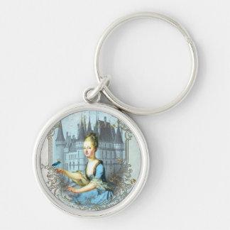 Blue Rococo Round Keychain
