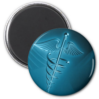 Blue Rod of Asclepius 2 Inch Round Magnet