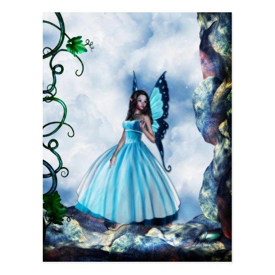 Blue Romantic Butterfly Fairy Postcard