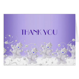 Blue Romantic Snowman Thank you Card