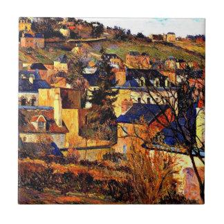 Blue Roofs of Rouen, Paul Gauguin painting Tile