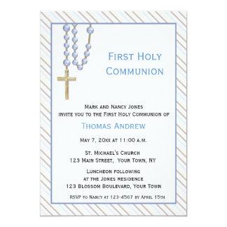 Blue Rosary Beads, Stripes, Religious Invitation