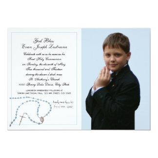 "Blue Rosary Communion Photo 5"" X 7"" Invitation Card"