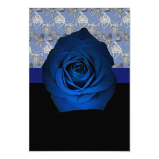 Blue Rose accented with Silver Rose Vines on a Card