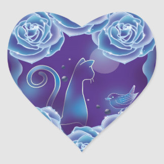 Blue rose and blue cat blue rose blue cat heart sticker