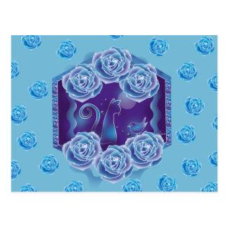 Blue rose and blue cat blue rose blue cat postcard
