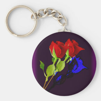 Blue rose basic round button keychain
