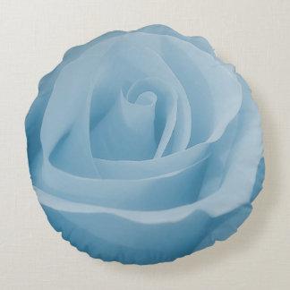 Blue Rose Blossom Round Pillow